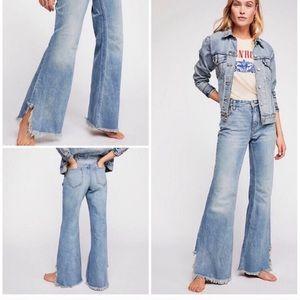 Free People Raw Hem Flare Jeans